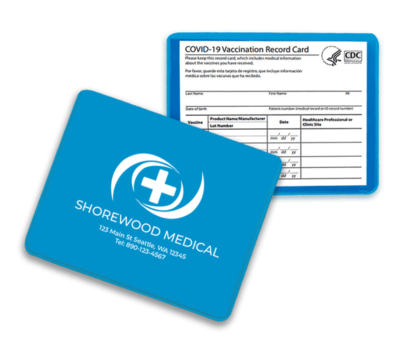 blue vaccination card holder