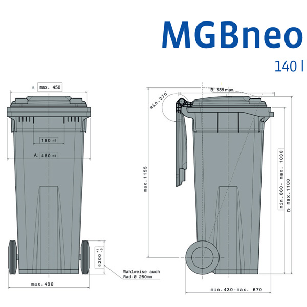 Wheelie Bin 140 Litre With 2 Wheels Plastic Containers