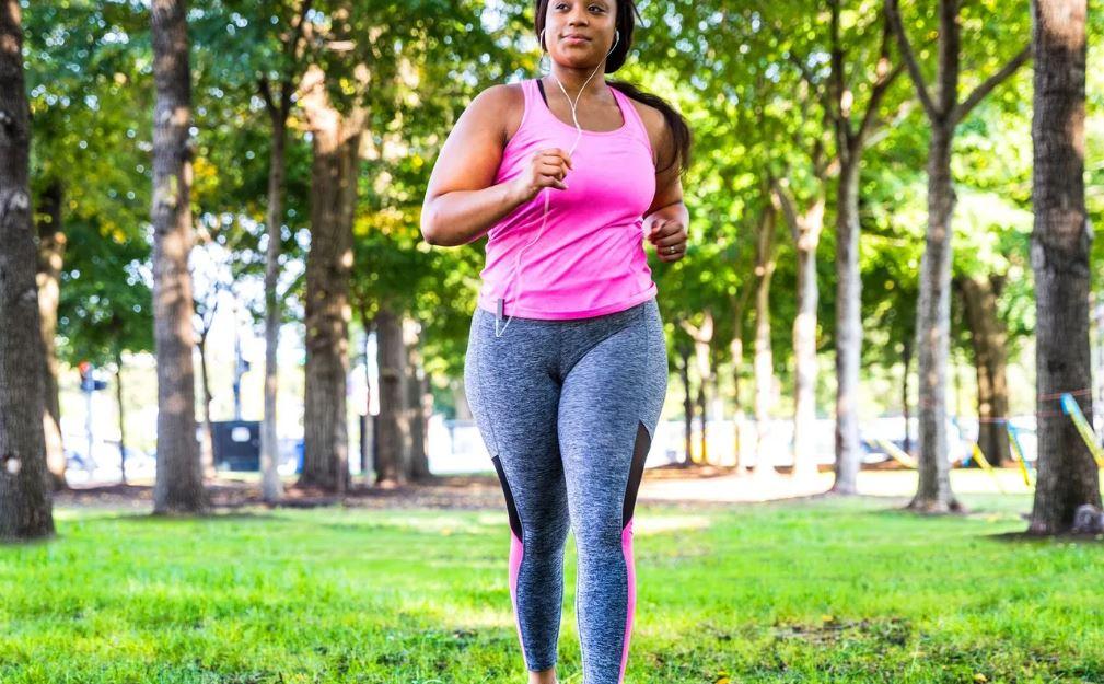black woman jogging
