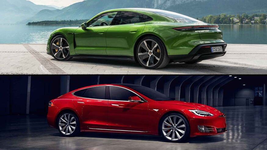 Porsche Taycan and Tesla Model S