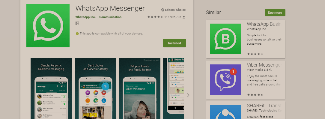 WhatsApp Returns To Top Spot As Google Play Store's Most Downloaded Free App In Nigeria