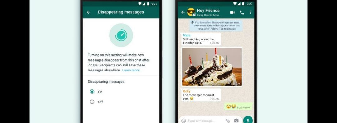 How to enable whatsapp disappearing messages