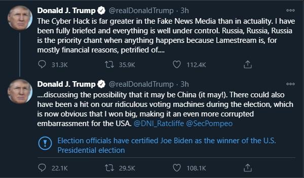 Twitter Labels President Trump's Tweet Declaring Joe Biden As The Election Winner