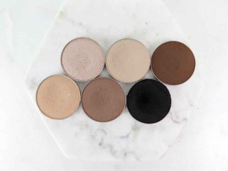 Top row, L-R: Makeup Geek Shimma Shimma; Makeup Geek Vanilla Bean; Makeup Geek Mocha; Mocha. Bottom row, L-R: Makeup Geek Beaches and Cream; Makeup Geek Barcelona Beach; Makeup Geek Corrupt.