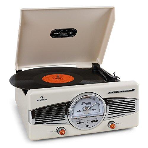 auna MG-TT-82 II Chaine stéréo avec platine vinyle (tuner radio FM/AM, haut-parleurs stéréo, lit 33 et 45 tours, sortie casque) – crème
