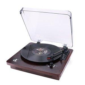 D&L 3 La Vitesse Platine Vinyle Style Noyer avec Couvercle Transparent Anti-Poussière Enregistrement PC Vinyle à MP3, Sortie RCA au Lecteur Audio, Aux Input