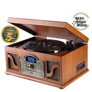 Lauson CL146 Platine Vinyle Bluetooth USB mp3 et Fonction Encodage Classique Lecteur CD Bois avec CD Cassette Radio 33/45/78 RPM Haut-parleurs Intégrés