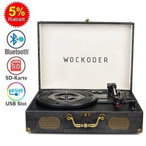 Platine Vinyle Tourne Disque Vintage Plateau Lecteur Vinyle Rétro Bluetooth USB Nostalgie Record Lecteur avec Haut-parleur Courroie Aux-In RCA 33/45/78 RPM Noir