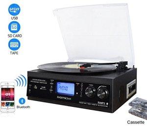 DIGITNOW! Platine Vinyle Bluetooth USB mp3 et Fonction Encodage Classique avec Cassette Radio 33/45/78 RPM Haut-parleurs Intégrés( Remarque: Appuyez longuement sur 5 Secondes pour Allumer)