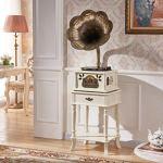 GOM Platine Vinyle, Vintage Phonographe Haut-parleurs Stéréo Conversion avec Trois Vitesses 33/45/78 Tours Soutien Lecture Bluetooth Lecture de CD Sorties RCA GOM-001