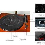 LSL Gramophone phonographe Mini rétro Radio – Lecteur CD – Lecture MP3 (Carte USB/SD) Bluetooth Orateur Maison Lecteur de Disque Vinyle Audio de Petits Bijoux,Deep