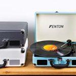 Fenton RP115C – Platine Vinyle Vintage à 3 Vitesses – Noir, Tourne Disque avec Haut-parleurs intégrés, adaptée pour disques 33, 45 et 78 Tours, Platine Vinyle Bluetooth Facile à Transporter