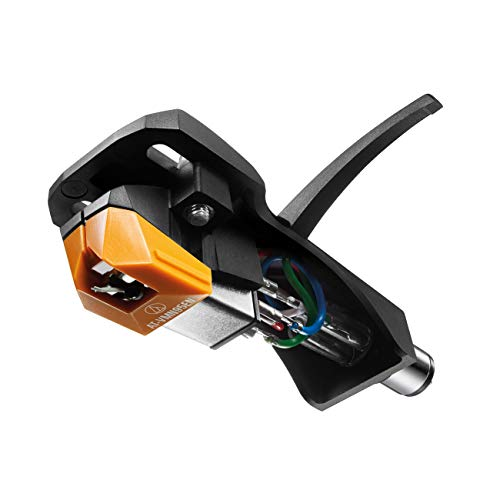 Audio Technica AT-VM95EN/H Headshell/Dual Moving Magnet Cartridge Combo Kit with Elliptical Nude Stylus Universal 1/2″ Mount for 4-pin Cartridges Includes Mounting Hardware (Black/Orange)