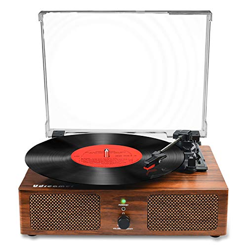 Platines Vinyle Bluetooth, Tourne-Disque Gramophone à l'ancienne avec Haut-parleurs intégrés et entraînement par Courroie USB AVCE 3 Vitesses pour Le Divertissement et la décoration de la Maison