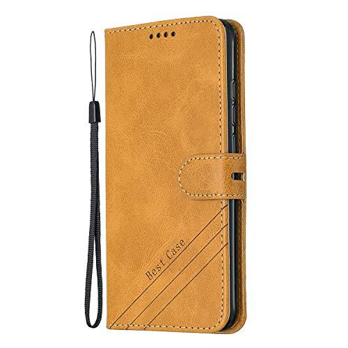 Coque pour Xiaomi Redmi Note 7/Note 7 Pro Prime PU Cuir Flip Folio Housse Étui Cover Case Wallet Portefeuille Support Dragonne Fermeture Magnétique pour Xiaomi Redmi Note 7 – JEHX010671 Jaune