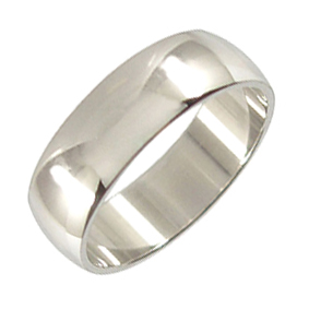 Platinum Wedding Ring Rounded - Polished - 7mm