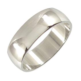 Platinum Wedding Ring Rounded - Polished - 7mm
