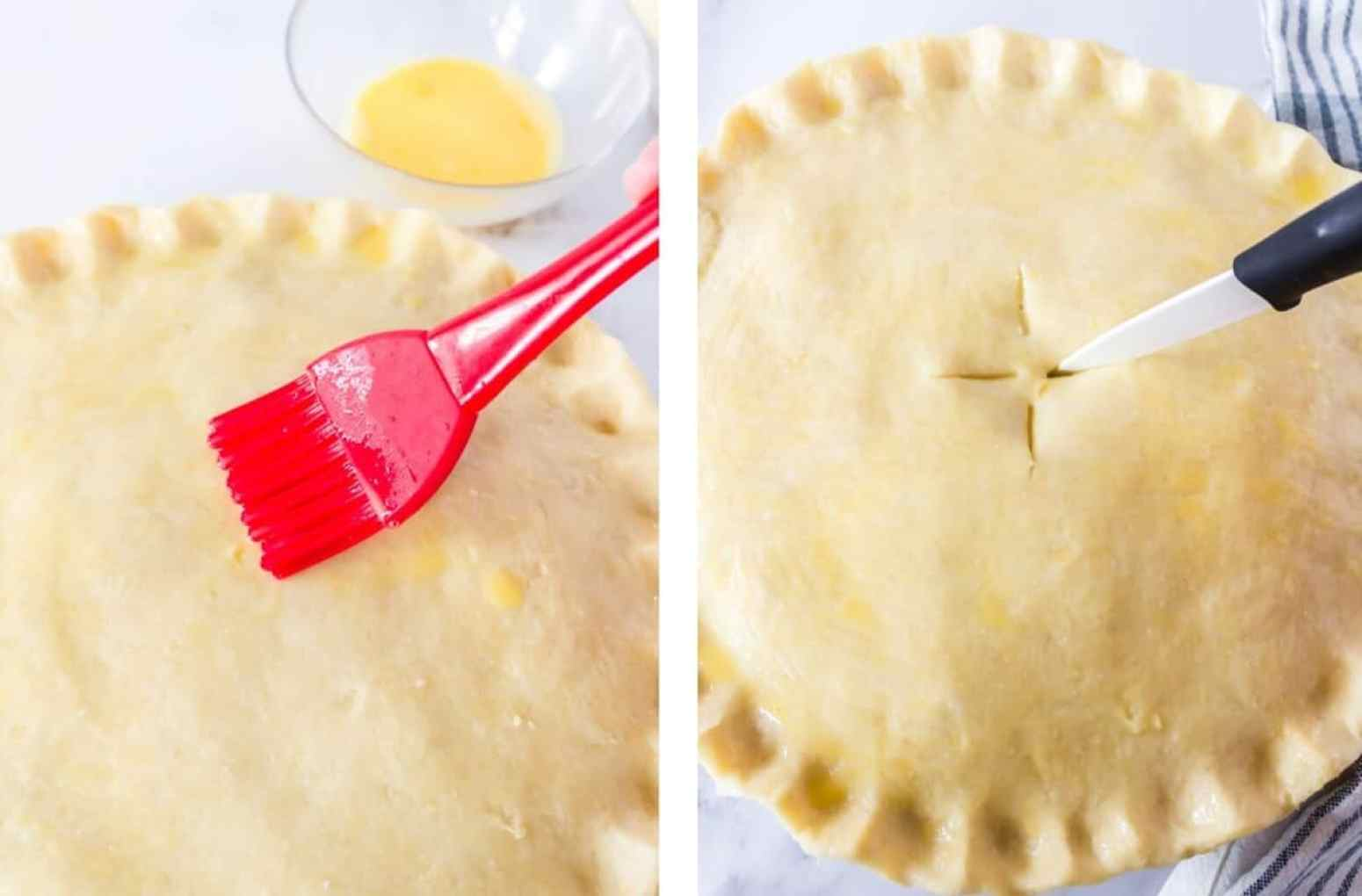 Brushing on an egg wash and making vent slits on the top layer of a turkey pot pie.