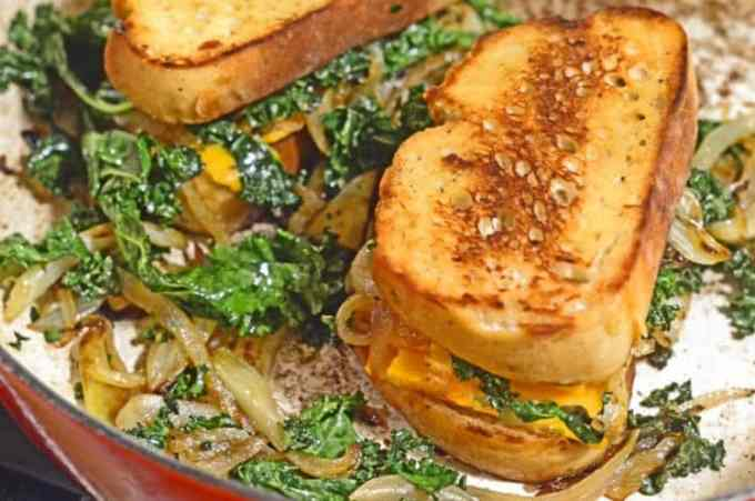 Caramelized Fennel, Onion & Kale Toasted Cheese Sandwich Recipe from Platter Talk