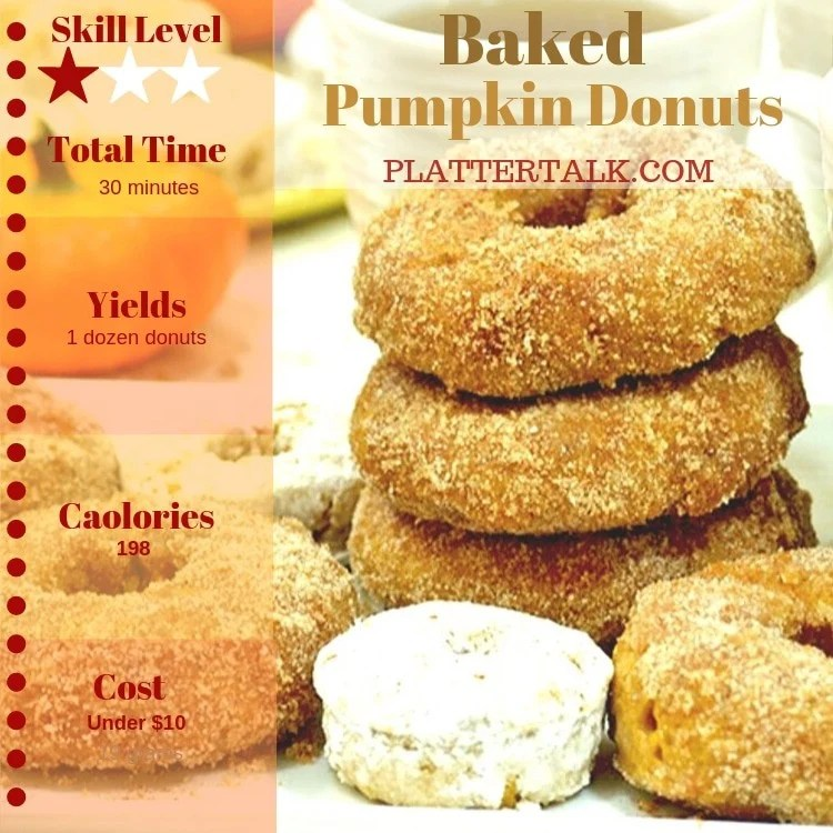 Stack of pumpkin donuts with recipe information listed.