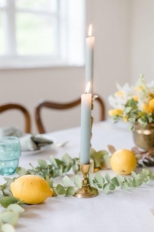 Tischdeko Grün Gelb Hochzeit Kerzenständer