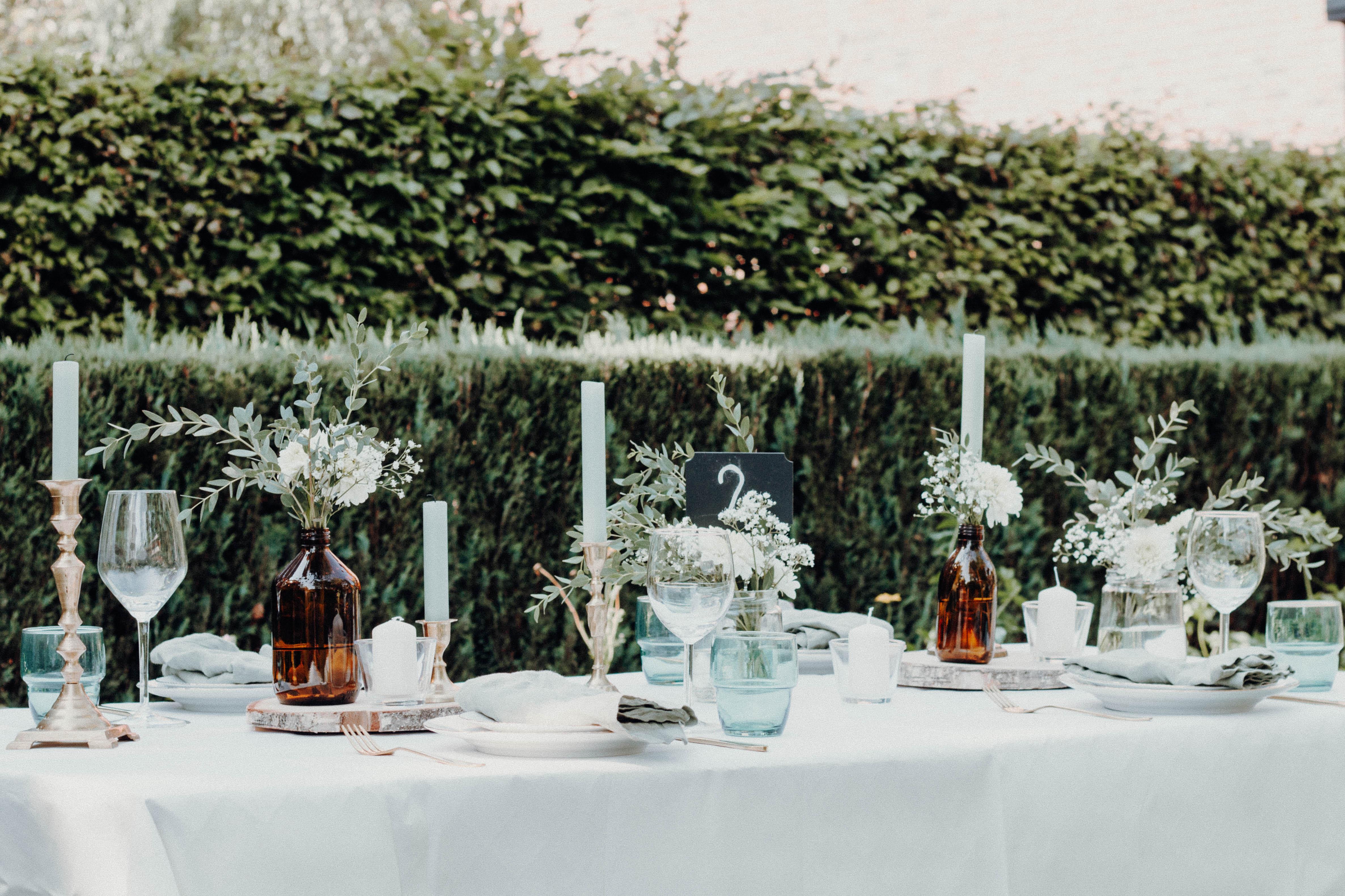 Holzscheibe Apothekerflasche Hochzeit deko