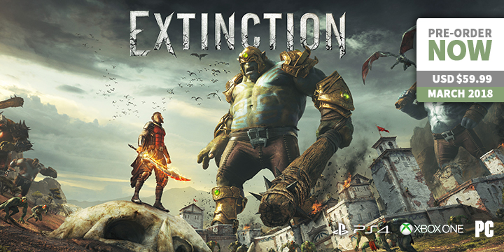 play-asia.com, Extinction, Extinction PlayStation 4, Extinction Xbox One, Extinction PC, Extinction US, Extinction EU, Extinction release date, Extinction price, Extinction gameplay, Extinction features