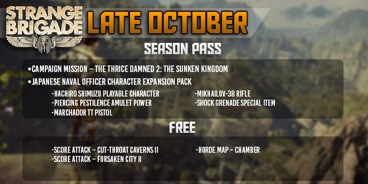 """Strange Brigade, Strange Brigade DLC Schedule, New character, DLC character, Patrick """"Bash"""" Conaghan, update, new maps, PlayStation 4, Xbox One, US, North America, Europe, gameplay, features, price"""