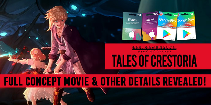 Tales of Crestoria, smartphones, android, iOS, West, release date, gameplay, features, announced, English Version, Bandai Namco, update, system details, full concept movie, characters
