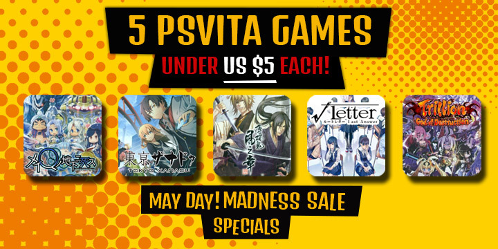May Day! Madness Sale - 5 PS VITA Games Under $5! - Playasia Blog