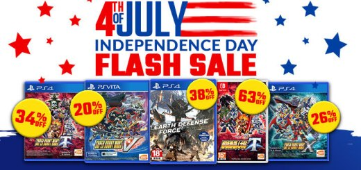 Sale, Independence Sale, 4th of July, Sale, Flash Sale, Super Robot Wars, Super Robot Wars T, Super Robot Wars X, Super Robot Wars V, Earth Defense Force: Iron Rain, PS4, Switch