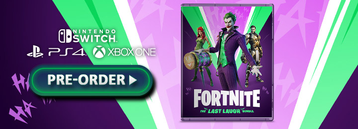 Fortnite, Fortnite [The Last Laugh Bundle], Fortnite The Last Laugh Bundle, Fortnite: The Last Laugh Bundle, Epic Games, Warner Bros. Interactive Entertainment, Europe, price, pre-order, PS4, XONE, PlayStation 4, Xbox One, features, Switch, Nintendo Switch, PS5, Xbox Series X, PlayStation 5