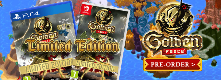 Golden Force, PixelHeart, Storybird Games, Switch, Nintendo Switch, Europe, release date, gameplay, features, price, screenshots, trailer, Standard Edition, Limited Edition, Mercenary Edition