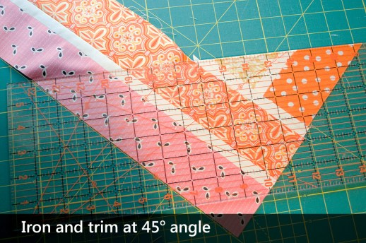 Line up to the 45 degree angle mark, and trim the block
