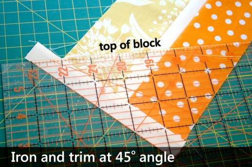 Trim with the sashing at the 45 degree line on your ruler