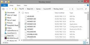 """Here the user has copied the files needed for the game """"Secret of Monkey Island"""" to his hard drive."""