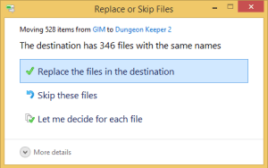 Make sure you choose to replace any files when Windows prompts you.