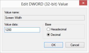 "Adding a custom resolution to Dungeon Keeper 2 - Make sure ""Decimal"" is set under ""Base""!"