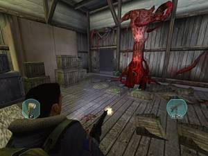Fighting the gruesome thing. This is how the game would have appeared on an older PC.