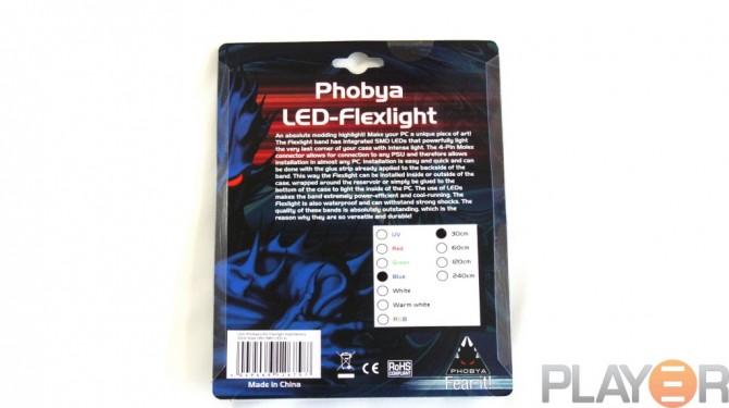Phobya 30cm Blue LED-flexlight Packaging Back