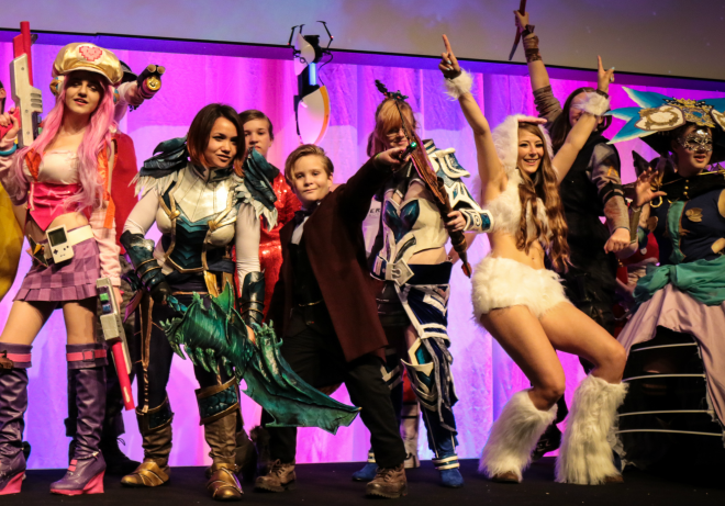 Back on stage with all the other cosplayers after the cosplay masquerade.