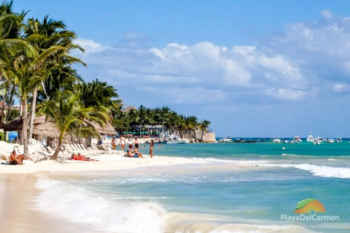 The beach in Playa del Carmen