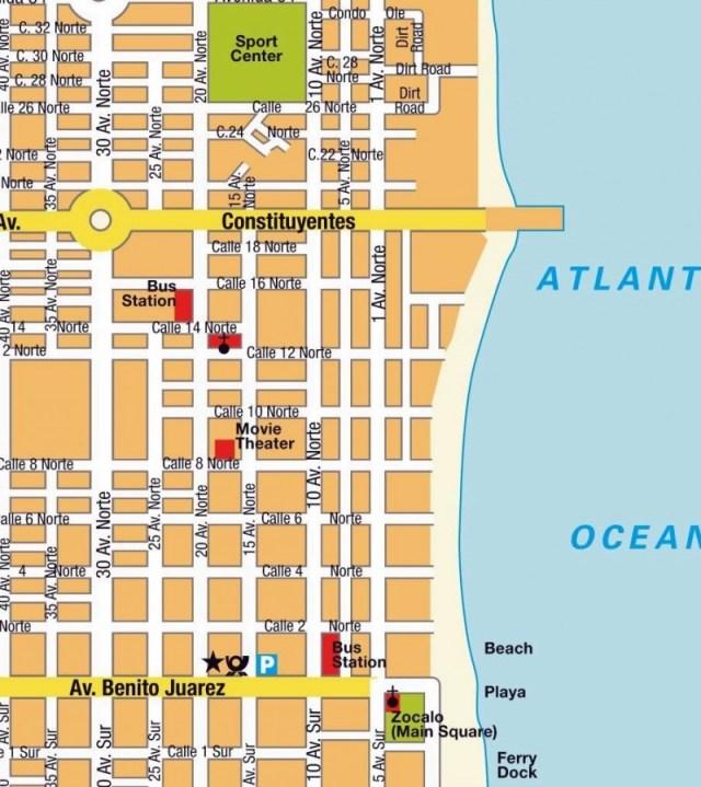 street map of Playa del Carmen