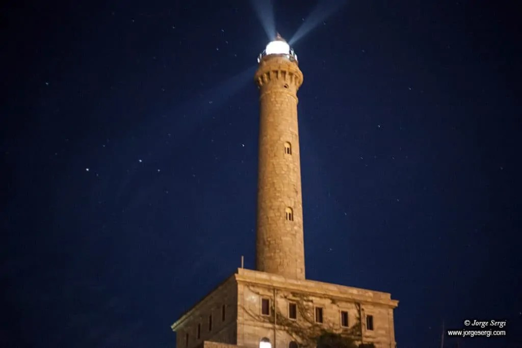 Cabo de Palos lighthouse by night