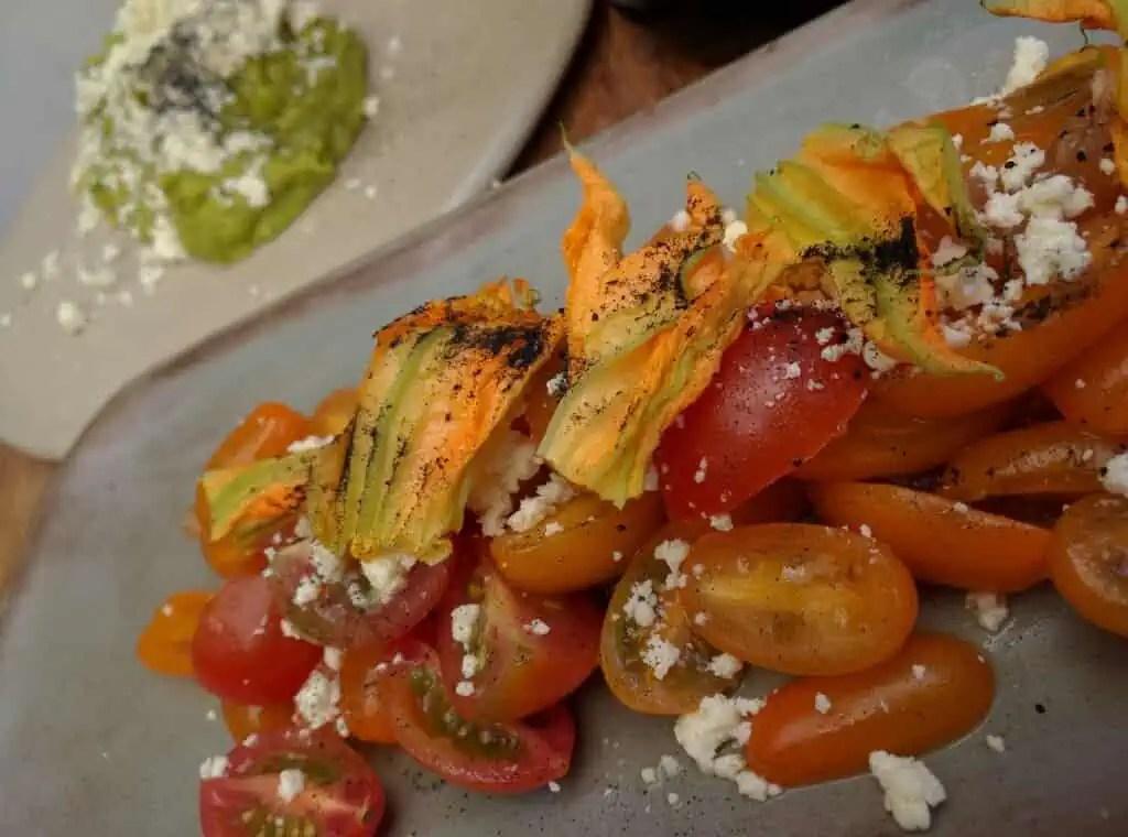 Squash blossom and tomato salad at palReal Cafe, Guadalajara, Mexico