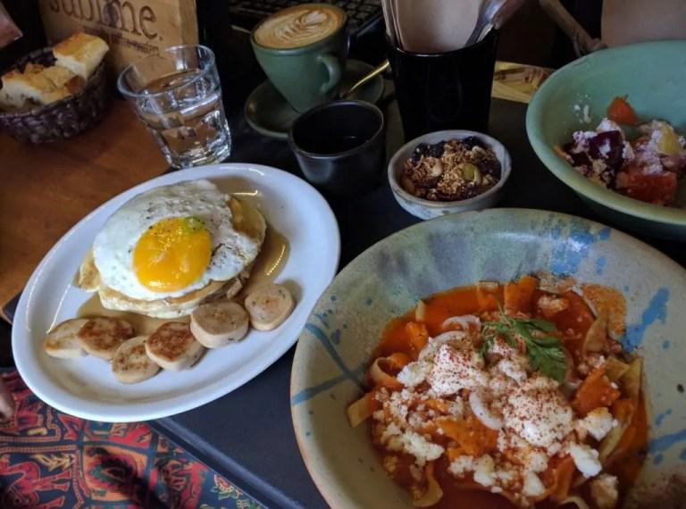 English Breakfast and chilaquiles at palReal Cafe, Guadalajara