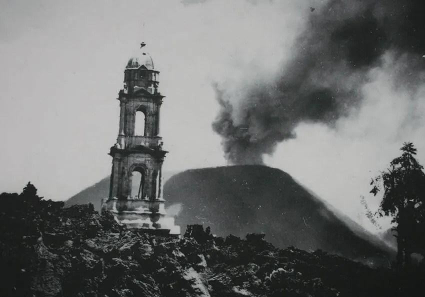 Paricutín Volcando and Church of San Juan Parangaricutiro