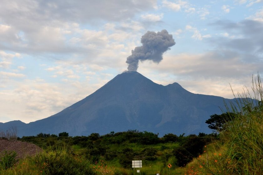 The Volcán de Fuego in Colima is responsible for the black sand beaches down river