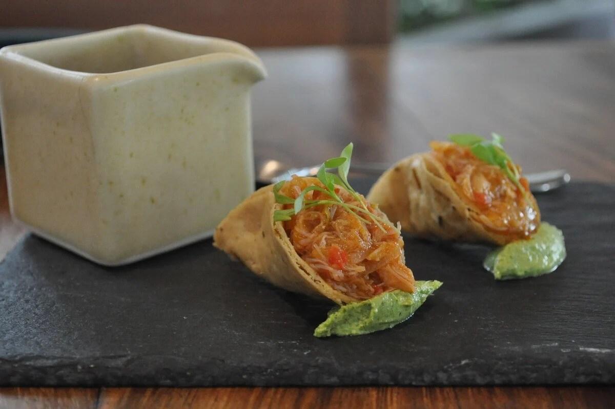Crab appetizers at Restaurante Allium, Guadalajara