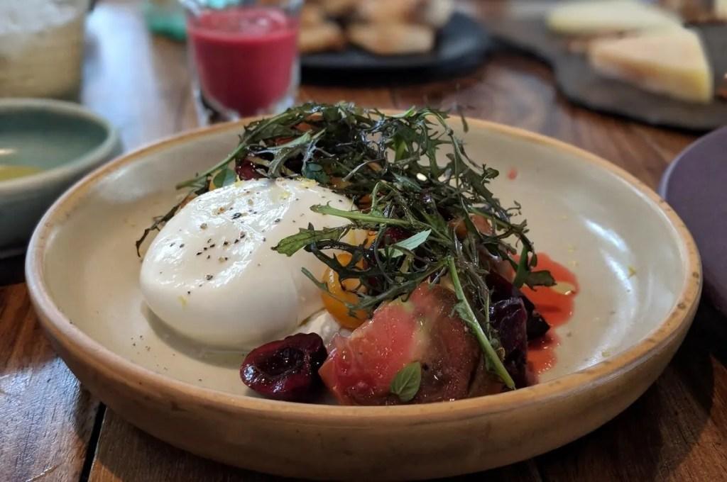 Heirloom Tomato and Burrata Salad at Allium